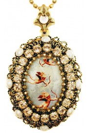 Michal Negrin Flying Cupids Locket Necklace