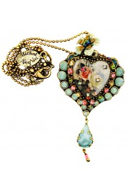 Michal Negrin Vintage Roses Heart Necklace