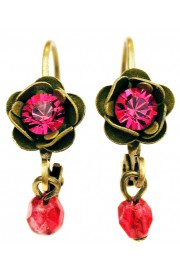Michal Negrin Fuchsia Khaki Rose Beads Earrings