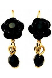 Michal Negrin Black Rose Beads Earrings