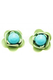 Michal Negrin Turquoise Beads Rose Stud Earrings