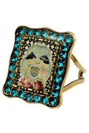 Michal Negrin Turquoise Dolls Kiss Rectangle Ring