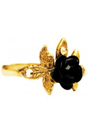 Michal Negrin Black Rose with Leaves Ring