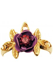Michal Negrin Purple Rose with Leaves Ring