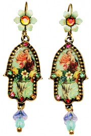 Michal Negrin Vintage Cherub Hamsa Earrings