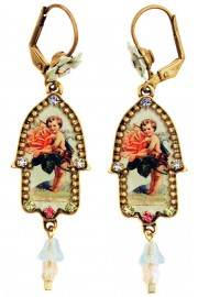 Michal Negrin Vintage Cherub Hamsa Earrings