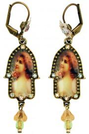 Michal Negrin Lady Rose Hamsa Earrings