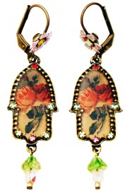 Michal Negrin Victorian Roses Hamsa Earrings