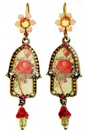 Michal Negrin Victorian Rose Hamsa Earrings