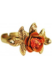 Michal Negrin Tangerine Rose with Leaves Ring