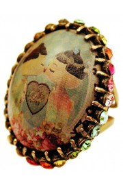 Michal Negrin Dolls Kiss Multicolor Crystal Cabochon Cameo Ring