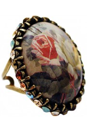 Michal Negrin Earth Roses Crystal Cabochon Cameo Ring