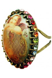 Michal Negrin Musing Angel Multicolor Crystal Cabochon Cameo Ring