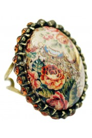 Michal Negrin Bronze Tapestry Roses Cabochon Cameo Ring