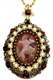 Michal Negrin Pearl Garnet Cupid Locket Necklace