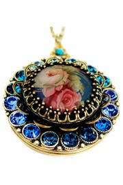 Michal Negrin Blue Victorian Roses Locket Necklace