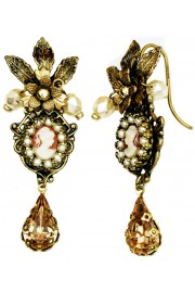 Michal Negrin Pearl Gold Victorian Lady Cameo Earrings