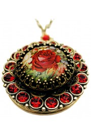 Michal Negrin Red Roses Locket Necklace