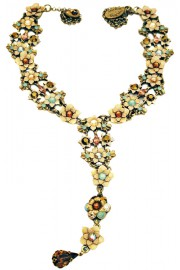 Michal Negrin Green Bronze Drop Tie Necklace