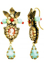 Michal Negrin Vintage Victorian Lady Cameo Earrings