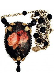 Michal Negrin Gothic Roses Cameo Necklace