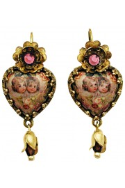 Michal Negrin Cherubs Cabochon Heart Earrings