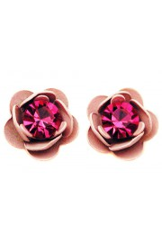 Michal Negrin Fuchsia Pink Rose Stud Earrings