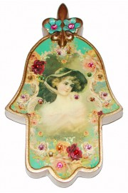 Michal Negrin Lady with Hat Wall Hamsa