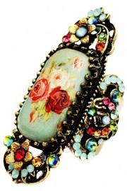 Michal Negrin Multicolor Victorian Roses Cameo Ring