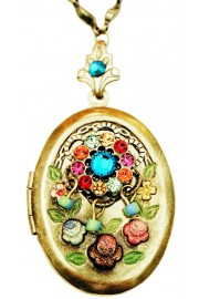 Michal Negrin Multicolor Crystals Oval Locket Necklace