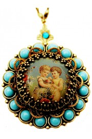 Michal Negrin Turquoise Friends Locket Necklace