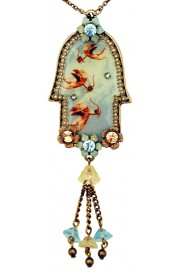 Michal Negrin Flying Cupids Large Hamsa Necklace