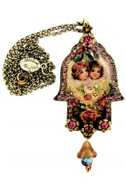 Michal Negrin Angels Roses Hamsa Necklace