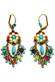 Michal Negrin Multicolor Turquoise Fan Earrings