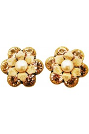 Michal Negrin Peach Pearl Crystal Flower Stud Earrings