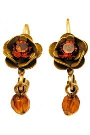 Michal Negrin Bronze Khaki Rose Beads Earrings