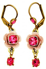 Michal Negrin Fuchsia Pink Crystal Rose Earrings