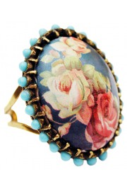 Michal Negrin Turquoise Roses Cabochon Ring