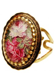Michal Negrin Pink Roses Oval Cameo Ring