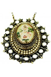 Michal Negrin Pearl Roses Locket Necklace