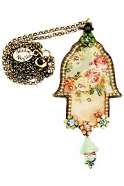 Michal Negrin Victorian Roses Pearls Hamsa Necklace