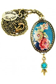 Michal Negrin Blue Roses Oval Cameo Necklace