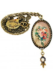 Michal Negrin French Roses Oval Cameo Necklace