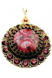 Michal Negrin Purple Roses Crystals Locket Necklace