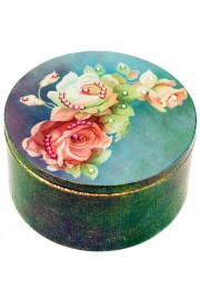 Michal Negrin Blue Roses Round Jewelry Box
