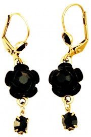 Michal Negrin Black Crystals Rose Earrings