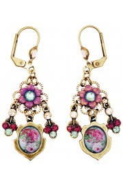 Michal Negrin Purple Teal Roses Cameo Earrings