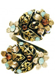 Michal Negrin Bronze Sea Green Snake Ring