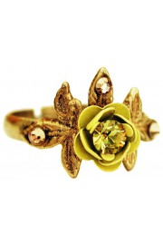 Michal Negrin Yellow Rose with Leaves Ring