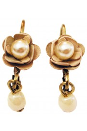 Michal Negrin Cream Pearl Rose Beads Earrings
